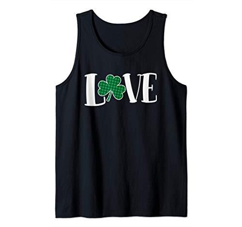Love Green Buffalo Plaid Clover St. Patty's Day Débardeur