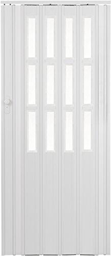 Falttür Schiebetür weiss farben mit Schloss und Fenster Höhe 203 cm Einbaubreite bis 85 cm Doppelwandprofil Neu