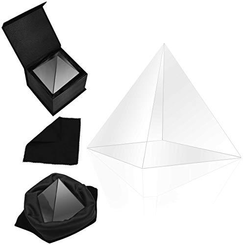 Belle Vous K9 Kristall Prisma Pyramide - 8x8x9,7cm Fotografie Glas Prisma Spektrometer Pyramide mit Samttasche, Mikrofasertuch & Geschenkbox – Kristallglas Licht Spektrum Regenbogen Fotos Lichtbrecher