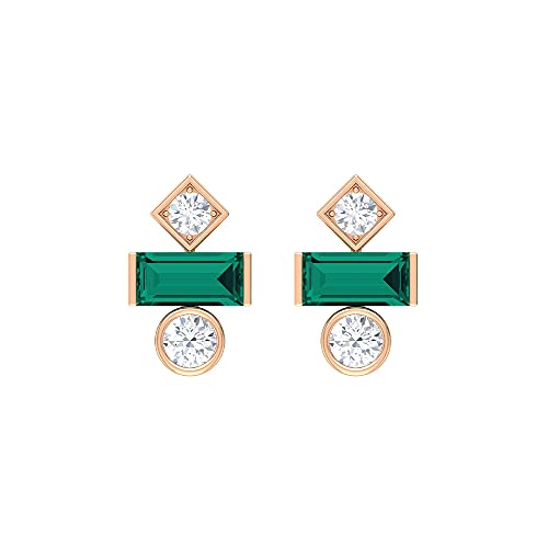 Rosec Jewels 14 quilates oro rosa baguette redonda Green Esmeralda rusa creada en laboratorio Diamond