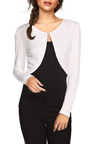 TrendiMax Damen Lässig Bolero Jacke Kurz Cardigans Strickjacke Schulterjacke Leichtes Langarm Top, Weiß, S