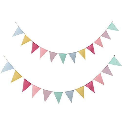 Guirnaldas Banderines,Colores Triángulo Banner,Bandera de Tela de Doble Cara Bunting para Cuerda de Advertencia,Fiesta,Cumpleaños, Bar,,Boda,Navidad,Escuela(About 3.5-4 Meters, 2 Sets)