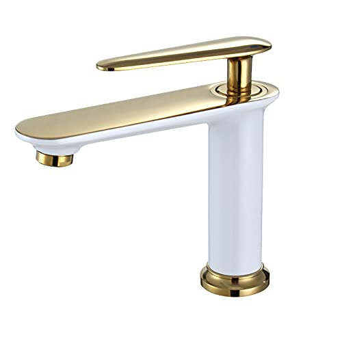 TTYUNDING Basin Faucet, Nordic Copper Bathroom Toilet Single Hole Hot and Cold Basin Faucet Household Washbasin Under Counter Basin Black Faucet