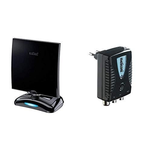 Meliconi AT-49 Antenna TV per Interni con Amplificazione fino a 49 dB & AMP20, Amplificatore di Antenna Digitale da Interni con filtro LTE