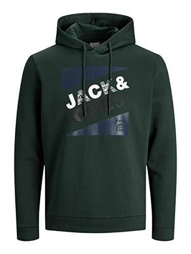 JACK & JONES - Felpa da uomo con cappuccio e logo Darkest Spruce XL
