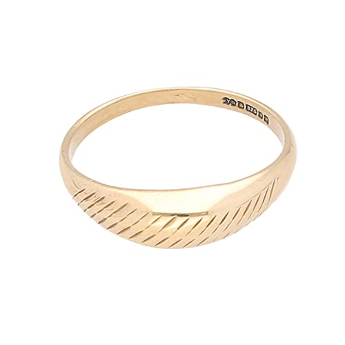 Anillo de lujo para mujer de oro amarillo de 9 quilates (talla P 1/2) 5 mm de ancho |...