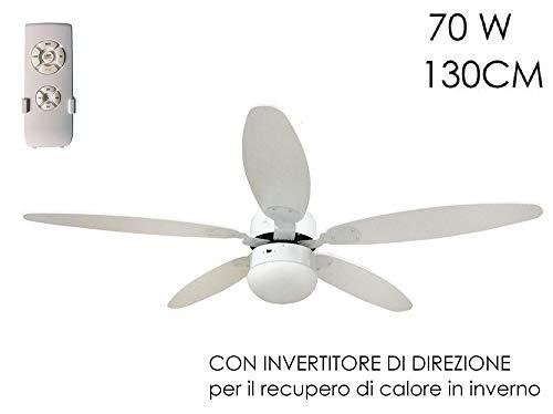 Ventilatore a soffitto Ø 130cm 5 pale con telecomando LUCE Reversibile 70W BIANCO Funzione invernale Timer 3 Velocità