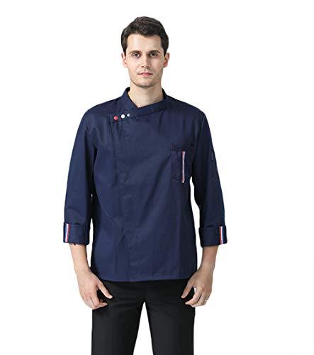 Unisex Manches koksjas met korte mouwen katoen keuken hotel kookkleding uniform beroepskleding met knopen Medium blauw