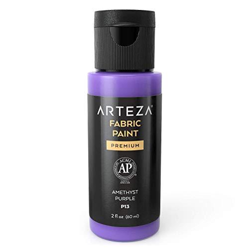 Arteza Permanent Fabric Paint P13 Amethyst Purple, 60 ml Bottle, Washer & Dryer Safe, Textile Paint for Clothes, T-Shirts, Jeans, Bags, Shoes, DIY Projects & Canvas