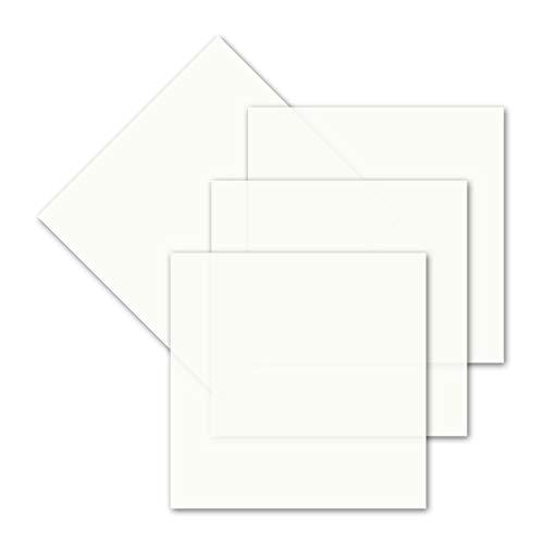 50x einfaches Einlege-Papier für quadratische Karten - transparent-weiß - 140 x 140 mm - ohne Falz - hochwertig mattes Papier von GUSTAV NEUSER