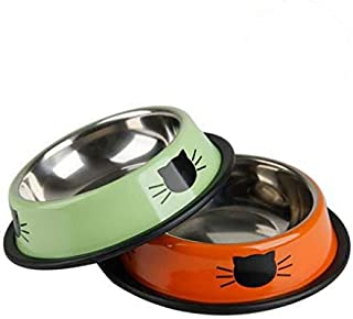 YASMA Cat Bowls Stainless Steel Pet Cat Bowl Kitten Rabbit Cat Dish Bowl with Cute Cats Painted cat Food Dish Easy to Clea...