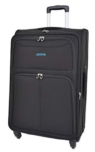 Large Size Suitcase 4 Wheel Luggage Black Soft Case Expandable Travel Bag SB65