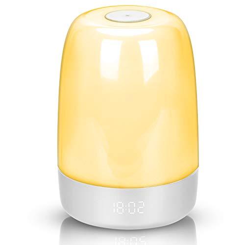 Lichtwecker Wake Up Licht mit Sonnenaufgang/Sonnenuntergang Simulation Dual,RUMIA,USB-Nachttischlampen-Schlummerfunktion,Dimmbar, mehrfarbig, LED-Wecklichter mit 3 Helligkeit 5 natürlichen Klängen