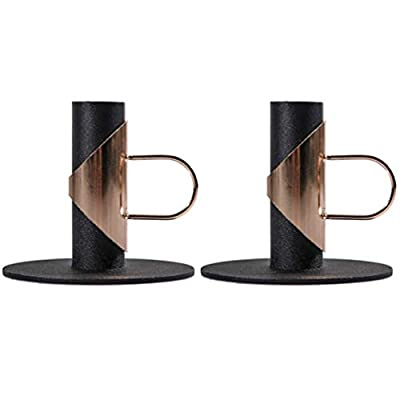 Candle Holders Set of 2?Candle Holders Black Candlesticks for Taper Candle?Candlesticks for Wedding, Dinning, Party