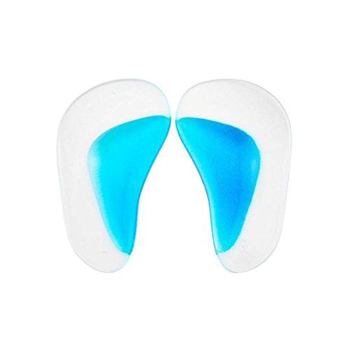 OULII Soporte ortopédico del bebé Plantilla de la plantilla Pies planos Admite almohadillas de gel Adhesivos adhesivos de silicona Tamaño L (transparente con azul)