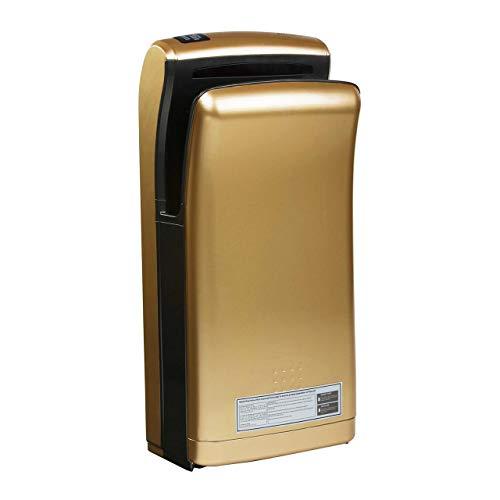 Physa Asciugamani Elettrico Automatico Asciugatore Mani da Bagno BARI GOLD (Tempo di asciugatura 5 s, 32.000 rpm, Velocità del getto d'aria 90 m/s, Volume dell'aria 150 m³/h)