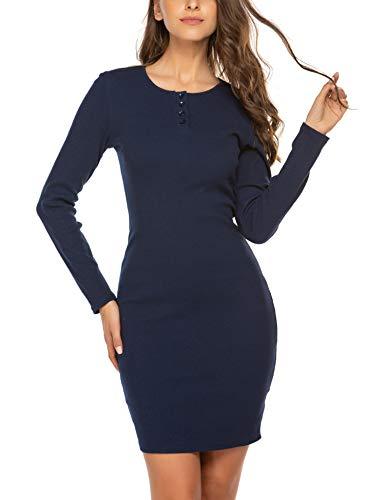 Parabler Damen Strickkleid Feinstrickkleid Minikleid Longpulli Elegant Langarm Stretch Kleid Mit knöpfen Rundhals Pulloverkleid für Winter