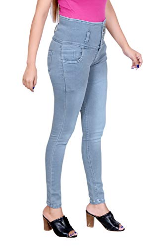 SLKS India Craft Women's Slim Fit 5 Button Denim Jeans | High Waist Ankle Length Jeans | Stretchable Five Button High Rise Skinny Fit Denim Jeans For Girls/Ladies. (36, Grey)