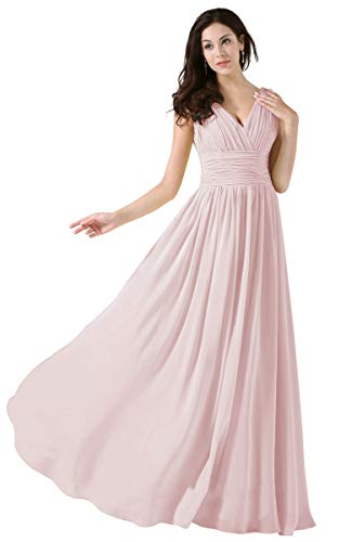 Nicefashion Women's V-Neck Sleeveless A-Line Bridesmaid Dresses Long Pleats Chiffon Evening Party Gowns
