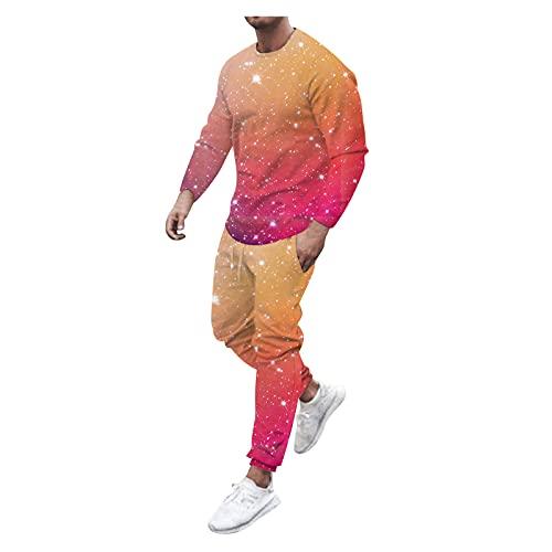 D-Rings Set di 2 magliette e pantaloni lunghi, da uomo, con scollo a O, con stampa, multicolore, L