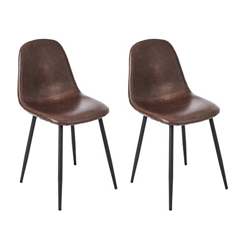 CangLong Faux Leather Dining Back Modern Side Chair for Pub Coffee Home, Set of 2, Brown