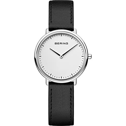 Bering Reloj de pulsera analógico para mujer con mecanismo de cuarzo y correa de piel 15729-404