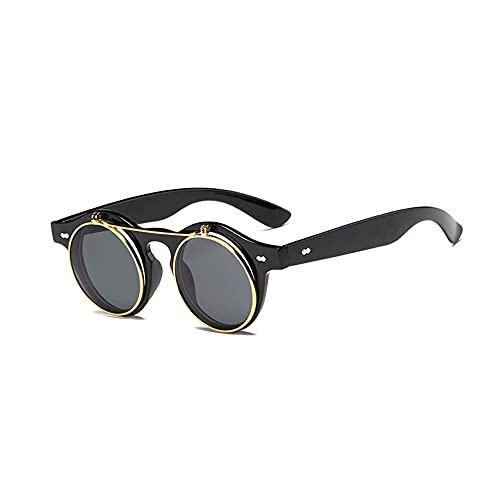 MVAOHGN 2021 Vintage Round Flip Up Sunglasses Classic Double Layer Clamshell Design Moda Gafas de Sol (Lenses Color : C2)