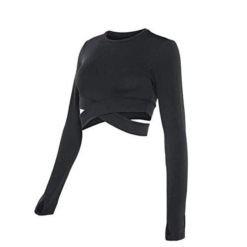 Sexy Lingerie Damen-Sporthemd, Langärmelige Yoga-Kleidung, Kurzes Oberteil, Geeignet Für Frauensporttraining, Laufen, Fitness,Schwarz,S