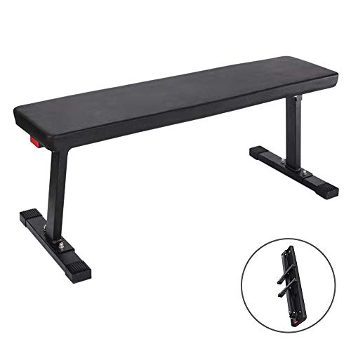 TOUNTLETS Foldable Flat Gym Utility Bench Travel Weights Bench, Exercise Portable Workout Flat Training Bench Heavy Duty for Indoor Dumbbell Fitness,Foldable Dumbell Bench for Home,600 lbs