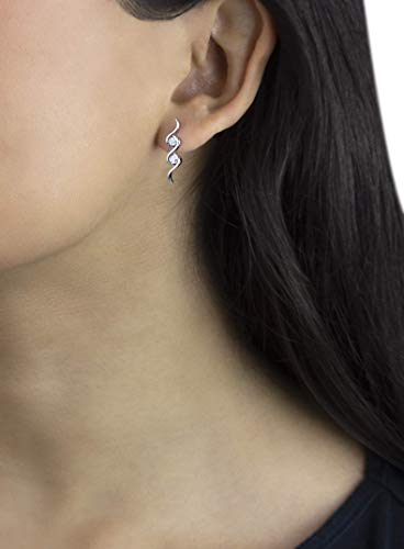 Delicate white 14k gold stud earrings with 0.24 carats of natural white diamonds (0.24 Ct Pave Diamond)