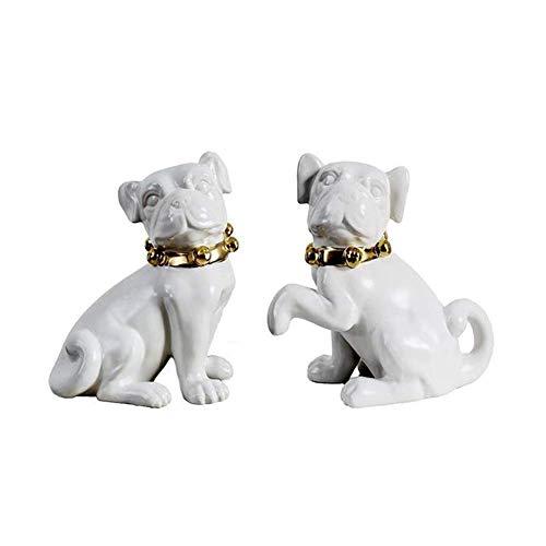 OH Statua Decorativa per Cani in Ceramica in Ceramica, Simulazione Dog Sculpture Pet Model Collezione Home Decoration Art 2 Pz Decorazione del soggiorno