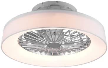 Ventilador de techo innovador plafón moderno iluminación LED difusor satinado tela blanco luz regulable Vortice 3 intensidades silencioso temporizador instrucciones italianas Ø 47 cm (blanco)