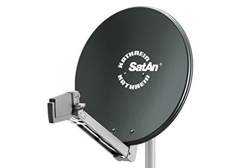 HD Sat Anlage von Kathrein für 4 Anschlüsse mit Kathrein CAS 80 (75cm) in grau Quad LNB - Für HDTV 1080p, 3D, Ultra HD 4K