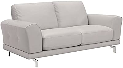 Fantastic Amazon Com Natural Greige Leather Loveseat In Dove Gray Alphanode Cool Chair Designs And Ideas Alphanodeonline