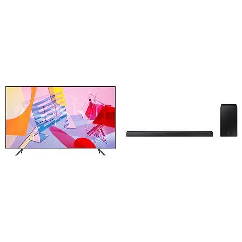 "Samsung QE50Q64TAUXZT Serie Q64T QLED Smart TV 50"", Ultra HD 4K, Wi-Fi, Silver, 2020, Esclusiva Amazon + HW-R430/ZF Soundbar da 170 W, 2.1 Canali, Nero"