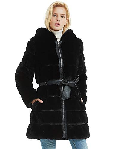 Bellivera Cappotto Invernale da Donna in Pelliccia Sintetica con Cappuccio con 2 Tasche, 2 Colori, Cappotto con Cinturino in Pelle, Nero, L