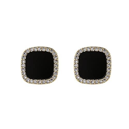 FPOJAFVN 925 Silver Silver Aguja Flash Diamond Stars Black Drops Oil Ear Studs Personalidad Geométrico Pendientes Cuadrados para Mujer Joyería Regalo,Negro