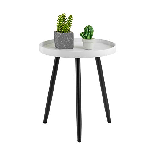 """HuiDao Round Side Table Wooden Tray Table with Metal Tripod Stand Nightstand Coffee Table End Table for Living Room Bedroom Office Small Spaces, 18"""" H x 15"""" D (White & Black)"""