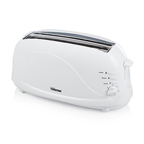 Tristar BR-1045 Tostadora con dos ranuras largas, 7 niveles de tostado, bandeja recogemigas, función de descongelar, calentar y cancelar, expulsión automática, 1100 W