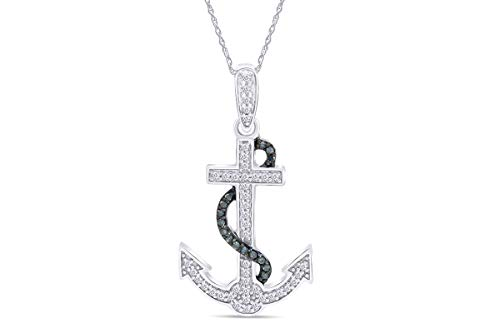 Blue & White Natural Diamond Anchor Pendant Necklace in 14k White Gold Over Sterling Silver (0.1 Ct)