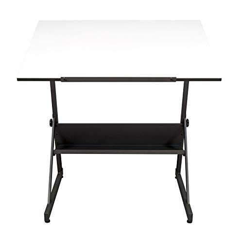SD STUDIO DESIGNS Studio Designs 13344 Solano Adjustable Height Drawing Table with Angle Tilt Top from Flat to 80 Degrees, Main Work Surface:, 41.5' W X 28' D, Charcoal Black/White