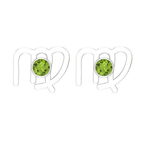 Rosec Jewels 14 quilates oro blanco redonda Green Peridoto/Olivino