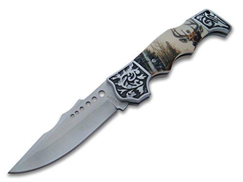 OS4you wunderschönes 21cm Waidmannsheil Jagd Taschenmesser - Klapp- Faltmesser - Deer Hunter Knife mit Hirsch Motiv