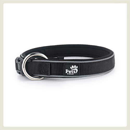 Pets&Partner® Hundehalsband aus Neopren, reflektierendes Halsband große und kleine Hunde, XL, Schwarz