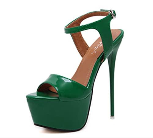 ZOULME Sexy High Heel Sandalen, wasserdichte Plattform Hohle Sekte High Heels, Strap Heels Platform Sandalen Partyschuhe, für Frauen Hochzeitspumpen 16 cm High Heels