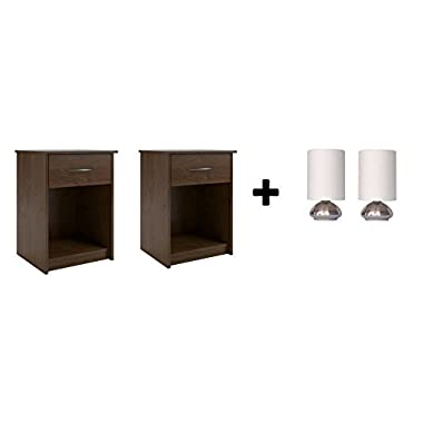 Set of 2 Nightstand MDF End Tables Pair Bedroom Table Furniture Multiple Colors (Northfield Alder with Lamp set)
