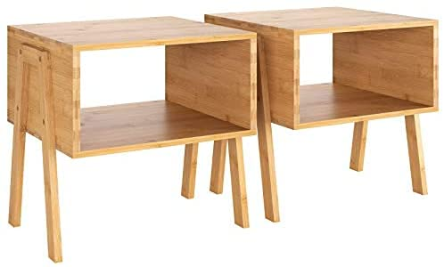 2 Mesitas de Noche Bambú Mesita Auxiliar Mesas Apilables con 2 Compartimientos Abiertos para...