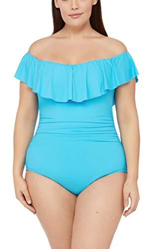 La Blanca Women's Ruffled Bandeau One Piece Swimsuit, Poolside, 16W