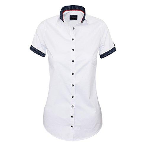 HEVENTON Bluse Damen Kurzarm in Weiß - Hemdbluse - Größe 34 bis 50 - Elegant und Hochwertig Größe 40