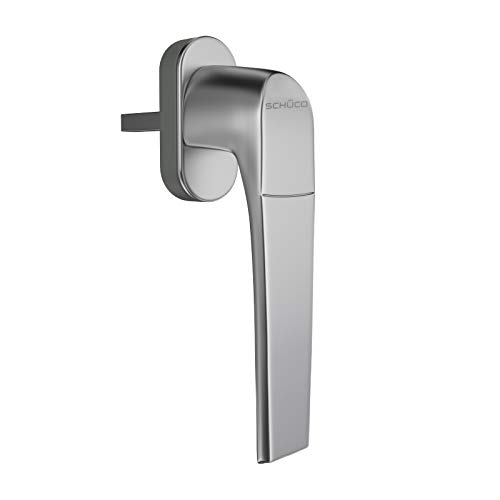 SCHÜCO- DESIGN Fenstergriff, Silber, Edelstahl - Optik, F 9, neues Design, für Profil Corona CT 70 / SI 82/ Living MD